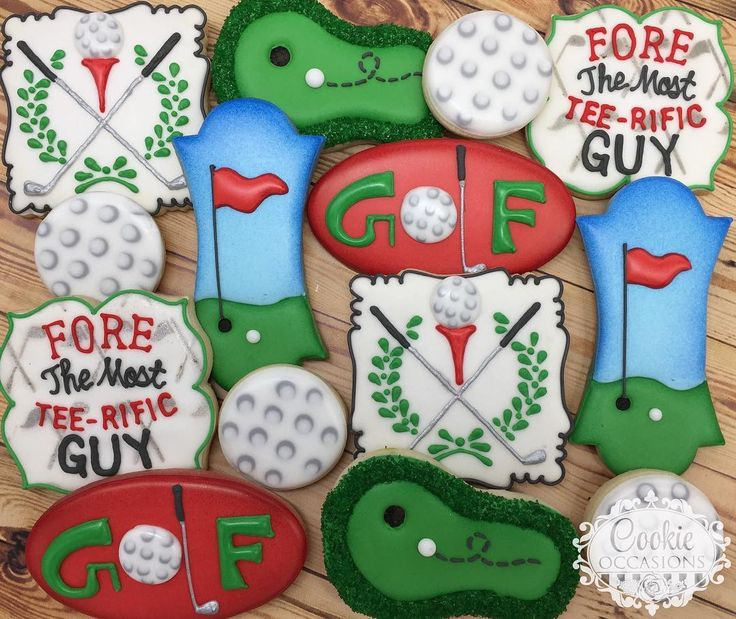 """176 Likes, 6 Comments - Anna Parnell (@cookieoccasions_) on Instagram: """"Golf Set #sugarcookies #decoratedcookies #customcookies #cookieoccasions #golfcookies"""""""