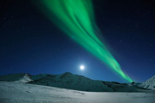 MOONRISE OVER NORTHERN LIGHTS Northern Alaska