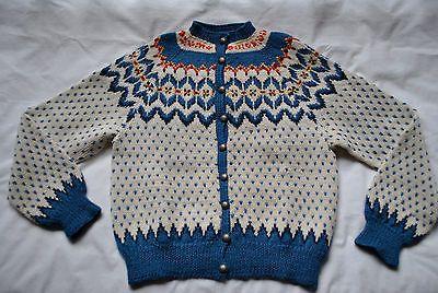 Vintage Hand Knit Ladies Norwegian Fair Isle Sweater 100 Wool Beautiful | eBay