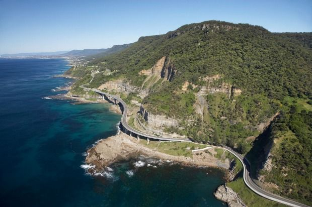 Grand Pacific Drive, New South Wales: Sea Cliff Bridge near Wollongong south of Sydney. Photo: Alamy