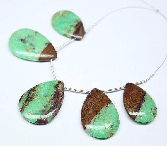 Natural Bi Colour Chrysoprase Smooth Pear Drops Beads Strand – Jewels Exports