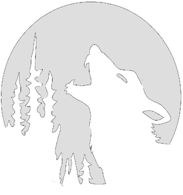 Wolf halloween tenplate howling stencil