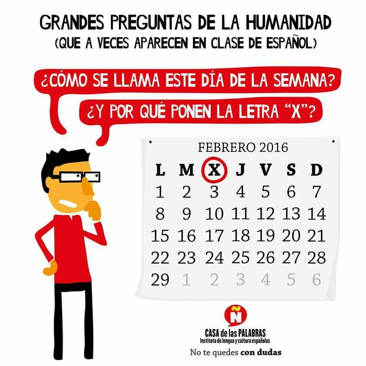 Días de la semana en español. Casa de las palabras. ELE.