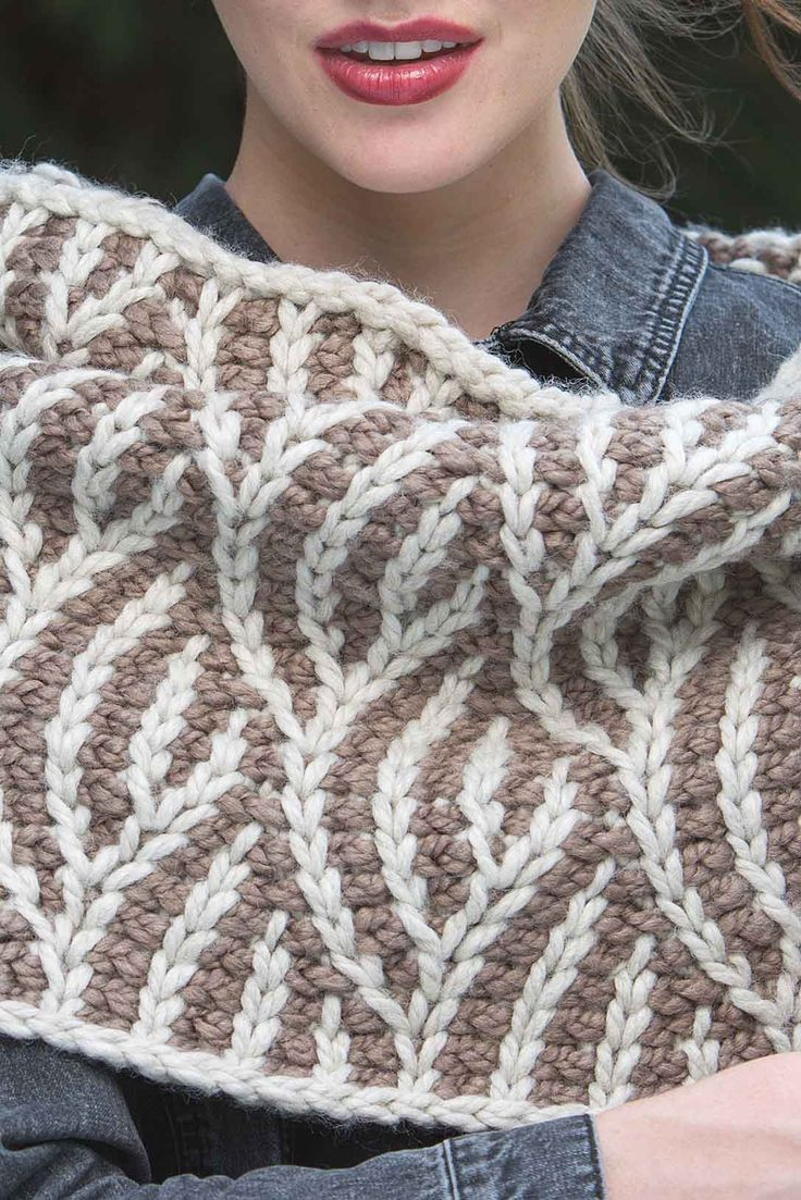 Ward off winter's chill with the oversized, chunky Fable Cowl. The unique organic texture stitch, reminiscent of knitted brioche, is accomplished with twisted Tunisian crochet stitches. Adventurous crocheters will want to give this graphic crochet cowl pattern by Juliette Bezold from Interweave Crochet Winter 2018 a try.