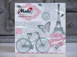 Serwetki Maki rower Paryż retro