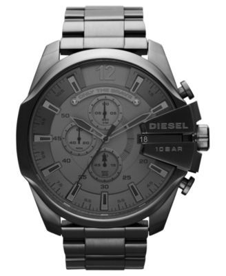 Diesel Watch, Men's Chronograph Gunmetal Ion-Plated Stainless Steel Bracelet 51mm DZ4282 | macys.com