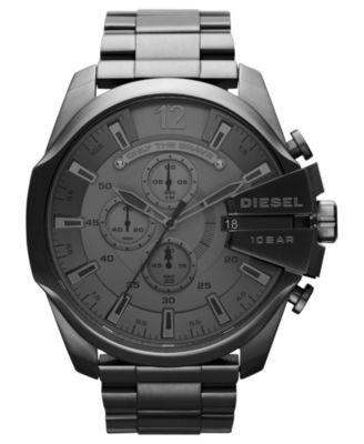 Diesel Watch, Men's Chronograph Gunmetal Ion-Plated Stainless Steel Bracelet 51mm DZ4282 | macys.com