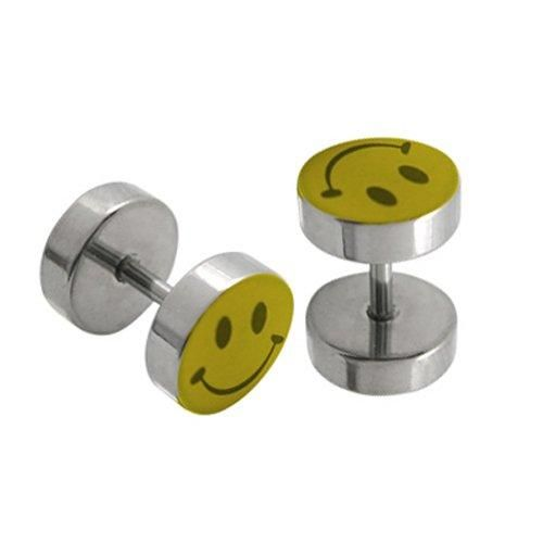 Fake Plugs Smiley Face Logo Stainless Steel 16G Cheater Illusion Jewelry