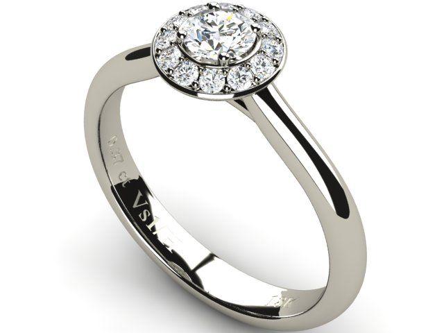 18K White Solid Gold Halo Diamond Wedding Engagement Ring - Paul Jewelry