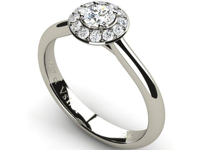 18K White Solid Gold Halo Diamond Wedding Engagement Ring - Paul Jewelry