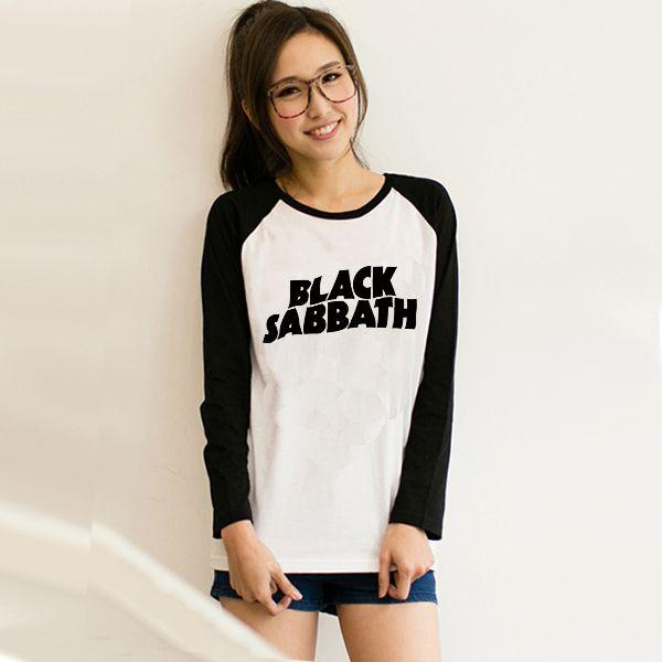 2017 Raglan Long Sleeve Black Sabbath T shirt Women Tshirt Loose Clothes Harajuku Tshirt Rock Uzzlang Korean woman Tee Tops #Affiliate