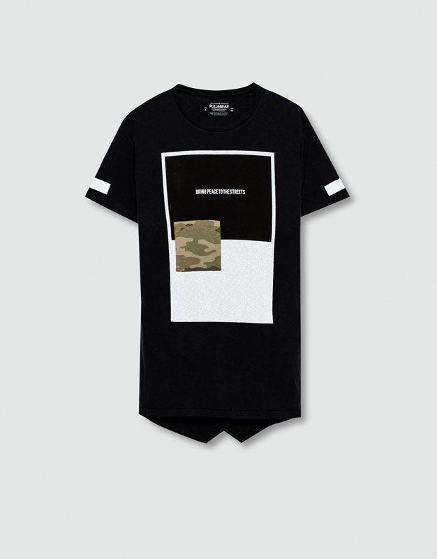 Pull&Bear - homem - blusas - t-shirt camuflagem estampado texto - cinza antracite - 09239540-I2016