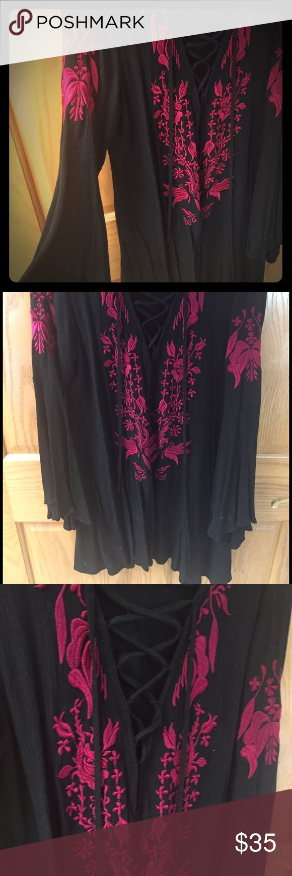 ASOS tie front embroidered tunic/dress.  UK 10/US5 ASOS tunic or dress.  Hits just above knee on 5'6.  Black with maroon embroidery. ASOS Tops Tunics