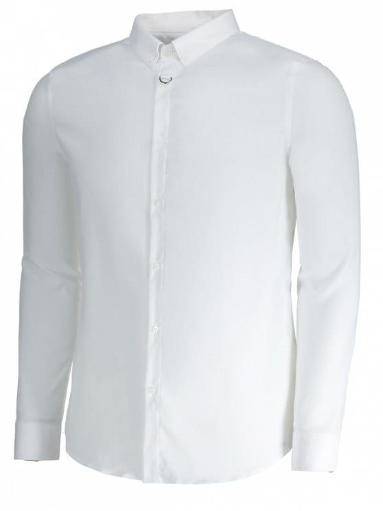 Button Down Mens Formal Shirt - WHITE 3XL