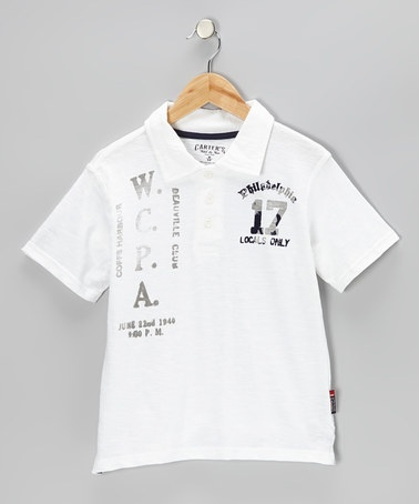 Take a look at this Pure White 'W.C.P.A.' Polo - Boys by Carter's Watch the Wear on #zulily today!