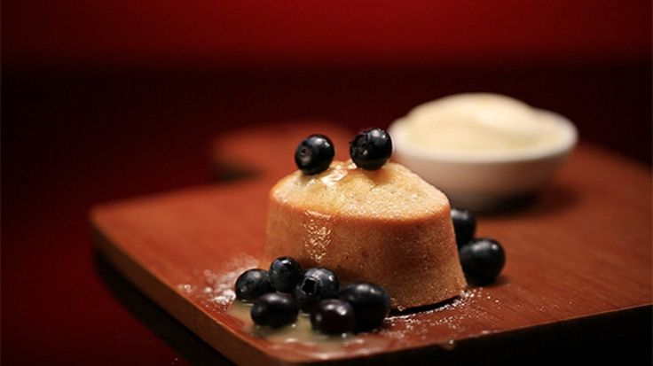 Lemon Friand with Lemon Curd and Blueberries