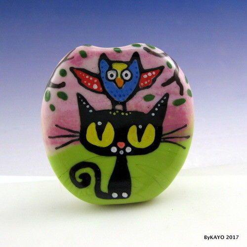 """PROFESSOR HOOTS & NANNY"" byKAYO a Handmade CAT Lampwork Art Glass Focal Bead #Lampwork"