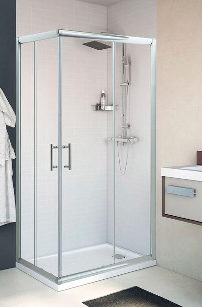 Mampara de ducha rectangular Mezzo, dos puertas correderas, vidrio transparente.