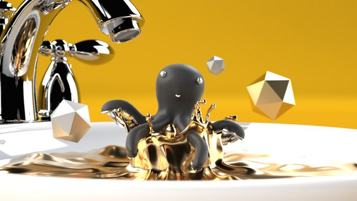 #3D #characterdesign #gold #splah #octopus #dailyrender #creature #toys #fun