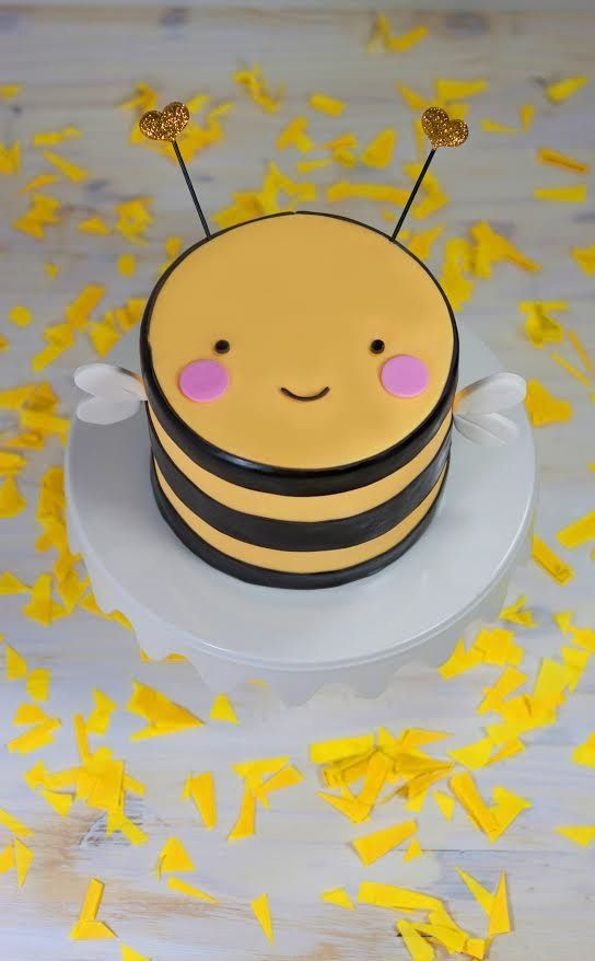 Adorable bumble bee kids birthday cake