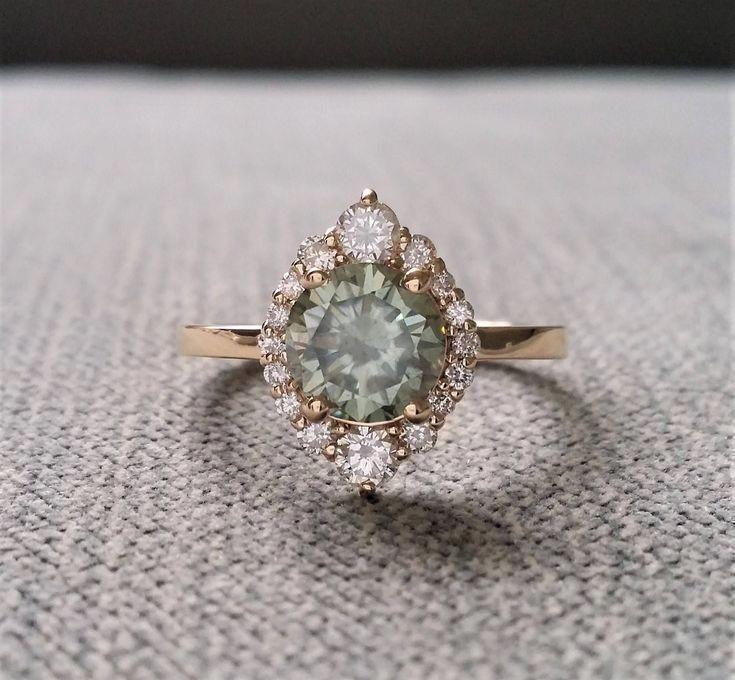 Grey Mint Moissanite Diamond Engagement Ring Halo Bohemian Art Deco Indian Vinta…