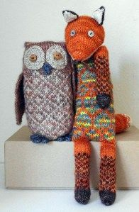 BomBella Tawny Owl and Intrepid Fox - love the stranded colorwork.