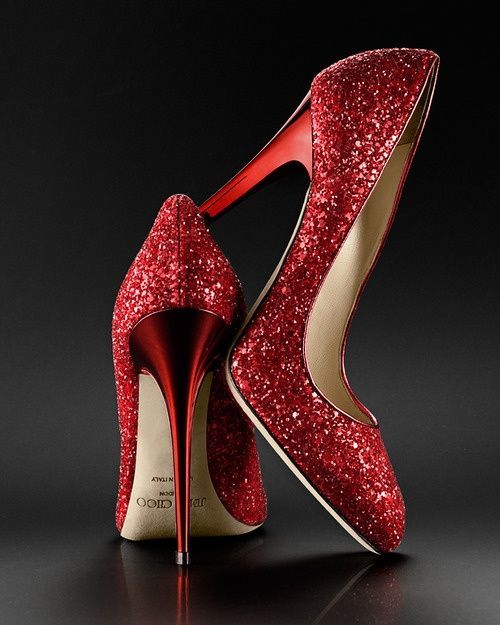 Jimmy Choo Red Sparkle Pumps
