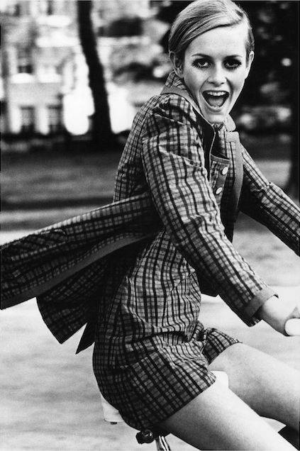 Twiggy riding a bicycle in London, 1967