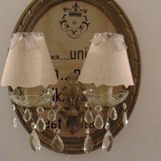 Cadre applique double a pampilles lumineux - fait main - piece unique