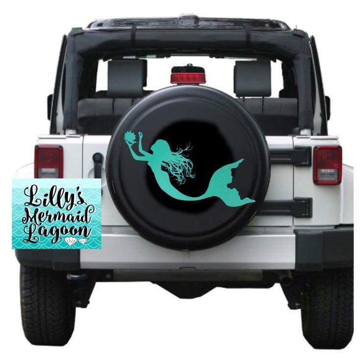 Mermaid tire cover, mermaid jeep tire cover, mermaid spare tire cover, mermaid decal, mermaid car decal, custom car decal, vehicle decal by LillysMermaidLagoon on Etsy https://www.etsy.com/listing/488517793/mermaid-tire-cover-mermaid-jeep-tire
