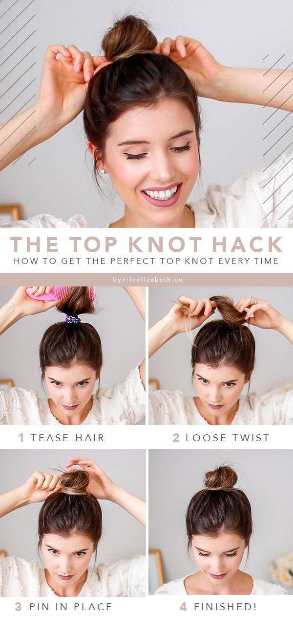 Hairstyle Easy Top Knot Bun Hair Tutorial Top Knot Hairstyles Knotted Bun Tutorial Hair Bun Tutorial