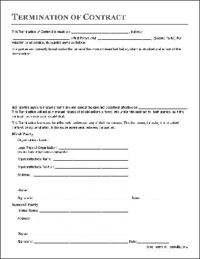 Free Termination of Contract (Organization to Individual) from ... - termination of contract form