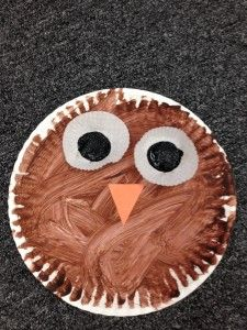 paper plate owl preschool craft