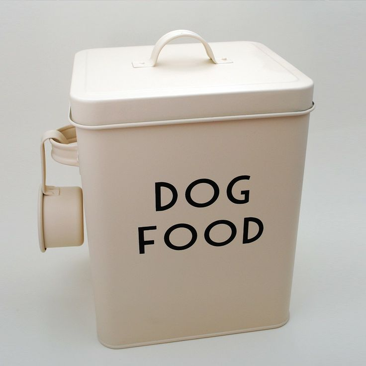 Vintage Cream Metal Dog Food Container And Food Scoop. £19.99