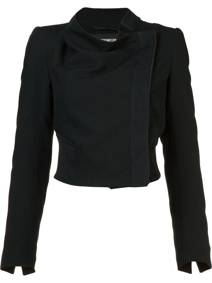 ¡Cómpralo ya!. Ann Demeulemeester - Cropped Biker Jacket - Women - Silk/Linen/Flax/Virgin Wool - 34. Black linen-silk blend and virgin wool cropped biker jacket from Ann Demeulemeester. Size: 34. Gender: Female. Material: Silk/Linen/Flax/Virgin Wool. , chaquetadecuero, polipiel, biker, ante, antelina, chupa, decuero, leather, suede, suedette, fauxleather, chaquetadecuero, lederjacke, chaquetadecuero, vesteencuir, giaccaincuio, piel. Chaqueta de cuero  de mujer color negro de ANN…