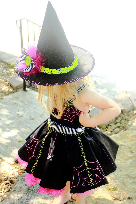 Adorable hand embroidered toddler Witch costume with hat etsy  more detailed picture shows how cute this is but couldn't manage to pin that image