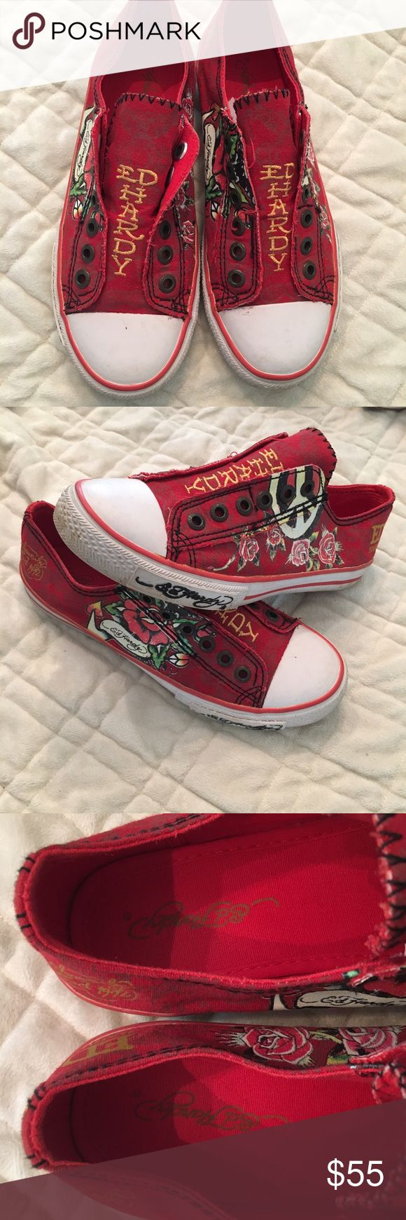 Ed Hardy 🌹 slide on sneakers sz 8 GUC Women's Ed Hardy red slide on sneakers size 8. Very cool designs of peace sign and roses 🌹some signs of wear shown in pics Ed Hardy Shoes Sneakers