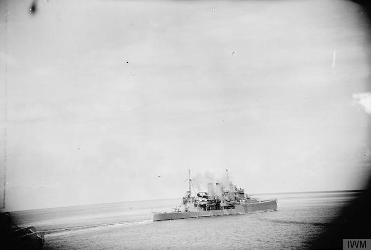 """lex-for-lexington: """"""""HMS Exeter firing at Japanese aircraft which unsuccessfully attacked the convoy in the Bangka Strait during the 14/15 February 1942."""" (IWM: A 9698) """""""