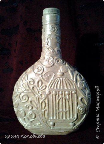 Декор предметов 8 марта Аппликация из скрученных жгутиков Декупаж Пейп-бутылка Лаванда Бутылки стеклянные Краска Салфетки фото 7