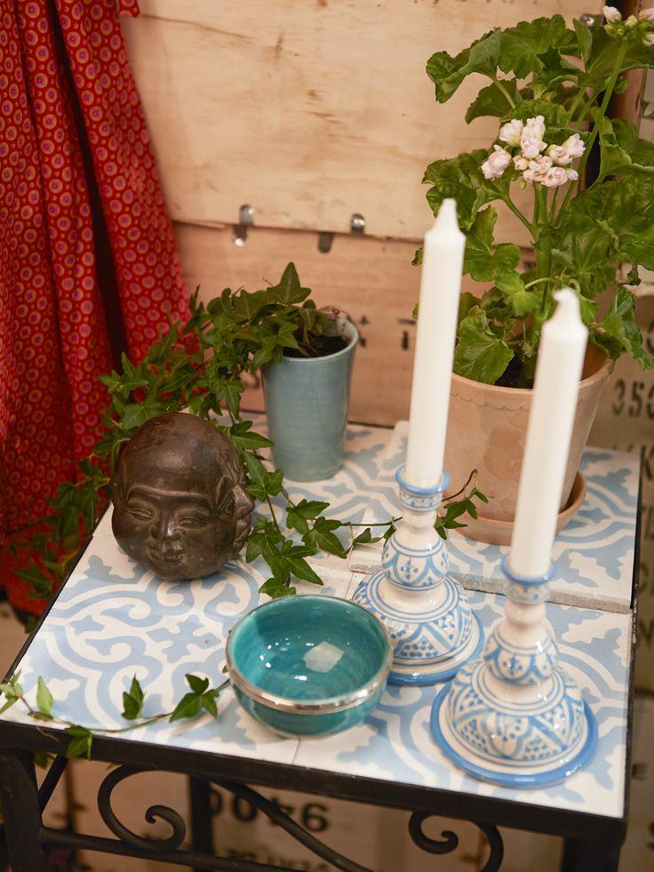 Kakelbord lågt - 2x2 kakelplattor. Ett vackert kvadratformat bord från Marocko i metall.