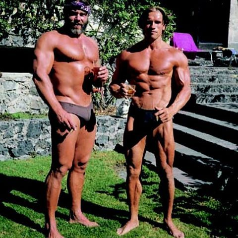 Arnold & Sven-Ole Thorsen On The Set Of Predator (80s)