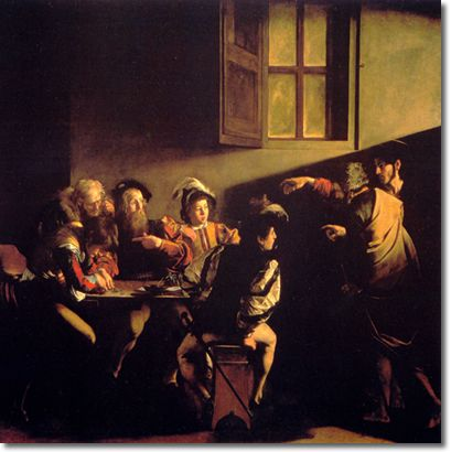 Carravagio -the calling of St Matthew.  I just love this painting.  It's incredibly powerful in person
