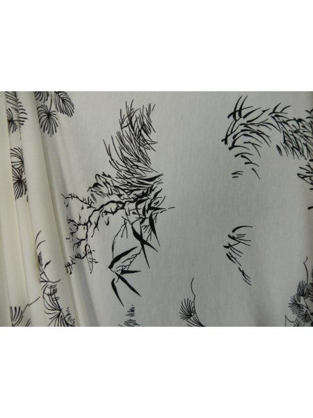 Viscose Cotton Stretch Lycra Fabric- Ivory/Black Japanese Garden Q1153 IVBK