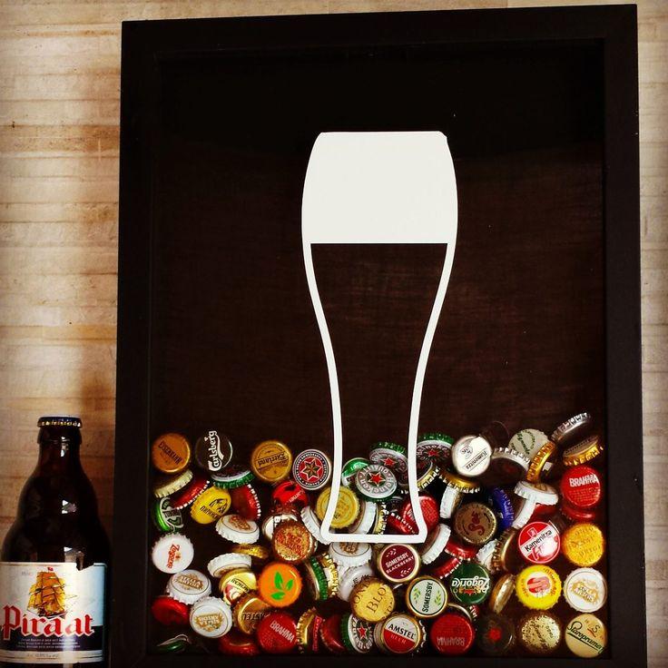 tampinha de cerveja quadro coletor decoração bar casa novo