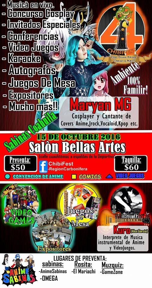 Evento: ChibiFest 4: Zombie  Fest  2016 Fechas: 15 de Octubre 2016 Lugar: Salon De Bellas Artes Sabinas, Coah Sabinas, Coahuila De  Zar...