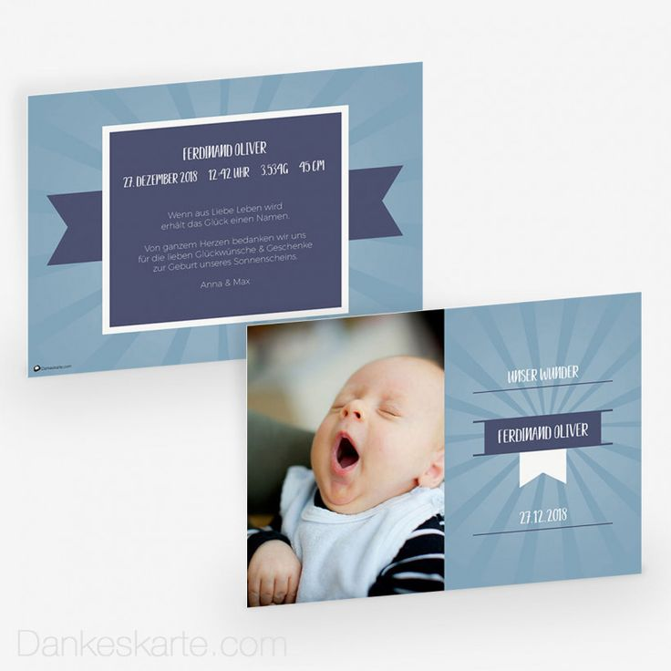 Babykarte Blaues Wunder 21 x 15 cm - Dankeskarte.com