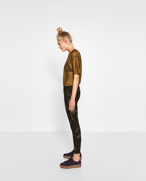 Image 4 of CAMOUFLAGE PRINT TROUSERS from Zara