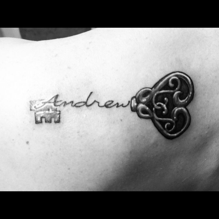Key to my heart tattoo. With a better heart and my two boys names.