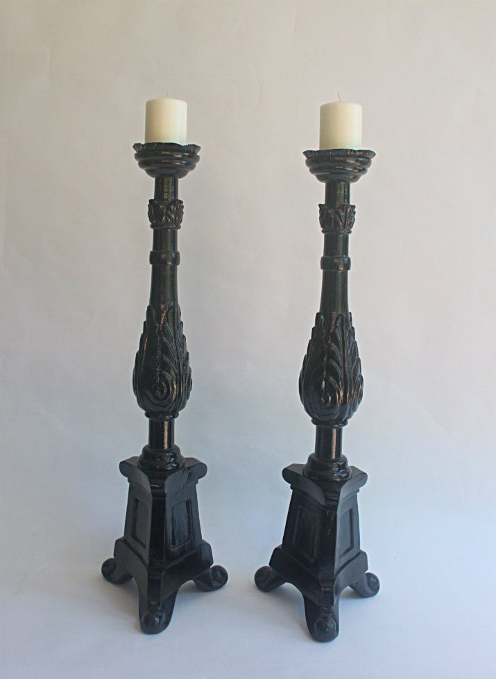 Striking Black Candle Sticks