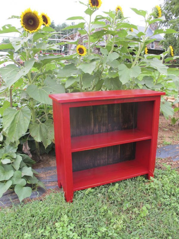 Two Shelf Red Bookcase